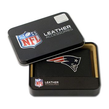 New England Patriots Embroidered Leather Tri-Fold Wallet