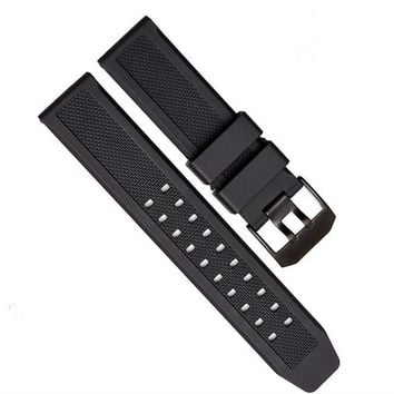 1PCS 23mm rubber bands watch band watch straps Silicone watch strap black color for luminox watch