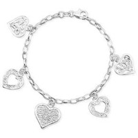 Giani Bernini Sterling Silver Bracelet, Heart Charm - Bracelets - Jewelry & Watches - Macy's