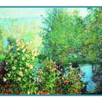 Le jardin des Hoschede a Montgeron inspired by Claude Monet's impressionist painting Counted Cross Stitch or Counted Needlepoint Pattern