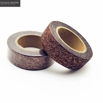 Brown Washi Tape Glitter Diy Stationery Decorative Scotch Tape Scrapbooking Photo Album School Tools Kawaii Scrapbook Paper