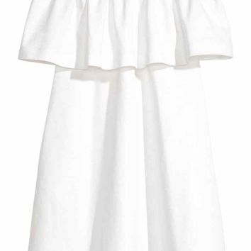 Off-the-shoulder dress - White - Ladies | H&M GB