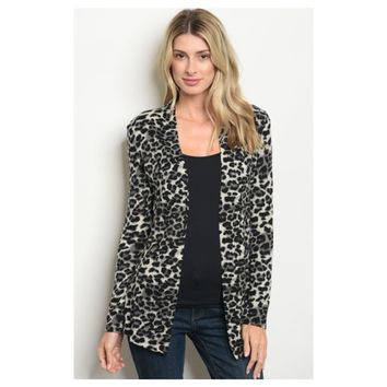 Sassy Me, Black Grey Animal Print Cardigan Jacket