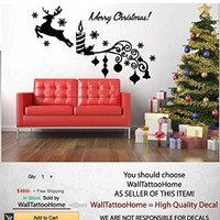 "Christmas Decoration Wall Decals Deer Vinyl Sticker Merry Christmas Snowflake Decal Bedroom Home Decor Living Room MS769 (14"" x 23"")"