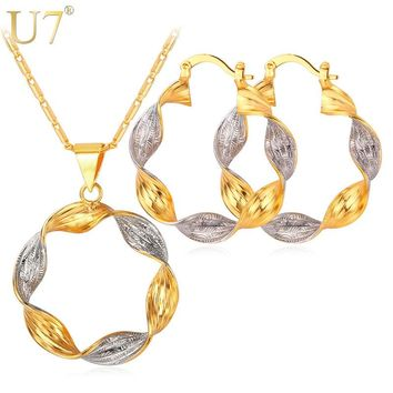 U7 Jewelry Sets Mix Silver Gold Color Two Tone Round Hoop Earrings And Pendant Necklace Set For Women Gift S663