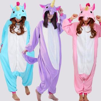 Unicorn Pajamas in Pink, Purple and Blue Colors Cosplay Kigurumi Halloween Costume Adult