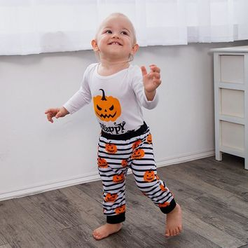 2018 Halloween Baby Clothes Pumpkin Girl Kids Pant And Top Happy Halloween Letter Print Baby Two Piece Set Newborn Outfit Fall