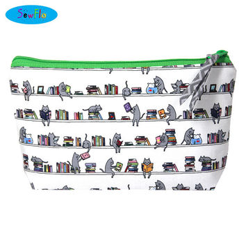 NEW! Books Makeup Bag-Cats Cosmetic Bag-Library Zip Bag-Reading Bag