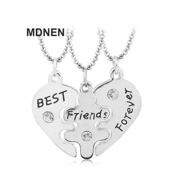 """New 3PCS/Pair Alloy """"Best Friends Forever"""" Rhinestone Heart Necklaces Kids Necklace For Children Jewelry, Birthday Gifts,MDNEN"""