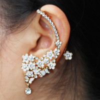 New Fashion Rhinestone Flowers Metal Ear Cuff Wrap Jewelry Clip On Earrings For Women Designs Not Piercing Ear Cartilage E-06