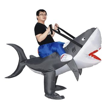 JYZCOS Hot Carnival Cosplay Halloween Party Inflatable Shark Costume Animal Shark Cosplay Suits for Men Women Adult Fancy Dress