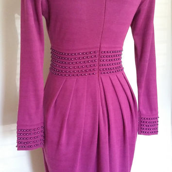 Fuchsia dress, S, pink dress, wool dress, purple knit dress, magenta dress, 80's dress, studded dress