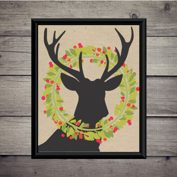Reindeer Wreath - Wreath - Christmas - Digital Print - Instant Download  - Digital Printable - Deer Print - Paper Art Print - Winter
