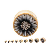 Silver Daisy Leather Flower Plugs (PAIR)