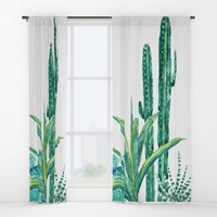 cactus jungle watercolor painting 2 Window Curtains by Color and Color