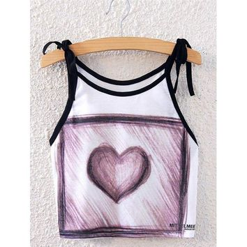 Fashionable Spaghetti Strap Sketch Design Heart Print Women's Tank Top - White