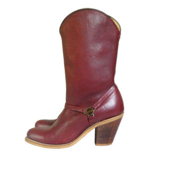 Women Cowboy Boot Laredo Cowboy Boot Ladies Cowboy Boot Burgundy Boots Maroon Boot Women Western Boot Ladies Western Boot High Heel Boot 70s