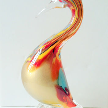 Glass Duck Decor // Vintage Art Deco Multicolor Duck Statue Decor // Vintage Art Deco Decor // Glass Duck