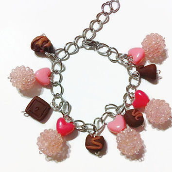 Chocolate Lovers Charm Bracelet, Pretty in Pink bracelet, Polymer clay charms, chocolate, candy charms, gift ideas, Easter gifts, dress up,
