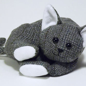 Cozy Kitty - gray tweed plush cat