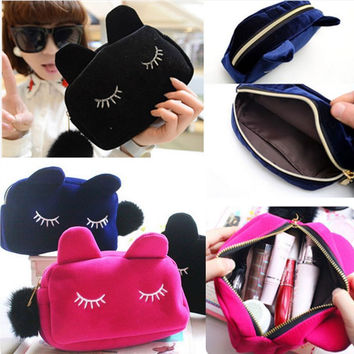 Cute Cartoon Cat Cosmetic Makeup Storage Bag Pen Pencil Pouch Case