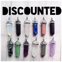DISCOUNTED crystal point necklace gemstone pendant opalite, rose quartz, amethyst, obsidian,