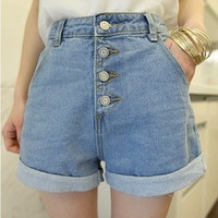 2016 Trending Fashion High Waisted Jeans Button Shorts Trousers Pants  _ 8250