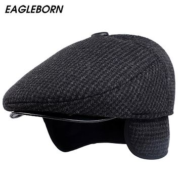2017 [EAGLEBORN] New Autumn Winter Mens Hats Beret Caps Dad Hat Cotton plaid Beret Hat British Retro Men Flat Cap