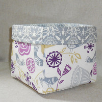 Pretty Purple and Gray Bird and Floral Fabric Basket