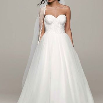 Ball Gown with Lace Corset Bodice - Davids Bridal