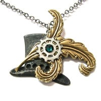 Steampunk Necklace  Black Patina Brass Top Hat Charm -by Mechanique Steampunk