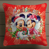 disney mickey and minnie merry christmas Square Pillow Case Custom Zippered Pillow Case one side and two side