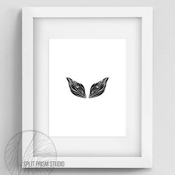 Original Art Print, Geometric Print, Art, Digital File, Wall Art, Black and White, Abstract, Modern Art, Wings, Instant Download, Minimal