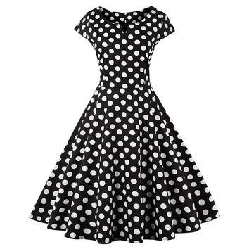 Retro Polka Dot Swing Fit and Flare Dress