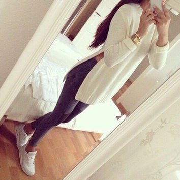White O-neck Long Sleeve Side Split Long Knitwear Women Casual Tops Pullover Coat = 1929644164