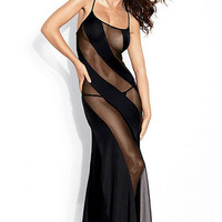 Black Strappy Diagonal Mesh Maxi Dress