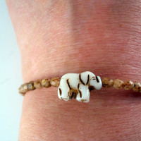 Lucky Elephant Beaded Memory Wire Bracelet Mother's by PZWDesign