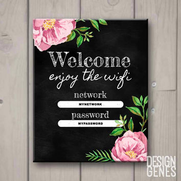 "Editabld PDF WIFI Chalkboard Password Sign ""Welcome and enjoy the WIFI"""
