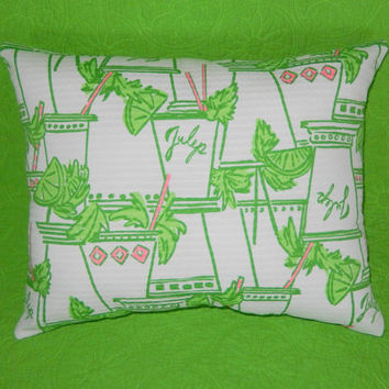 New Pillow Made with Lilly Pulitzer Just Add Mint Wave Cotton Jacquard fabric