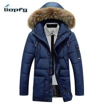 2017 Winter Europe States long-term men's clothing large size hooded fashion section youth leisure jacket 90% duck down WM106