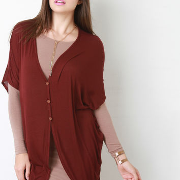Extra Long Half Sleeve Cocoon Cardigan