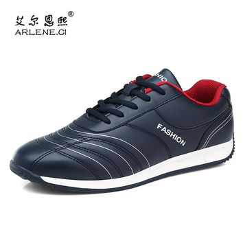 2018 Hot Sale PU Leather Tennis Shoes For Men Lightweight Outdoor Walking Sneakers Comfort Athletic Sports Shoes Men Trainers