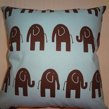 Decorative Pillow Cover 21 x 21 Elephants Pattern Light Blue, Brown DOUBLE SIDED