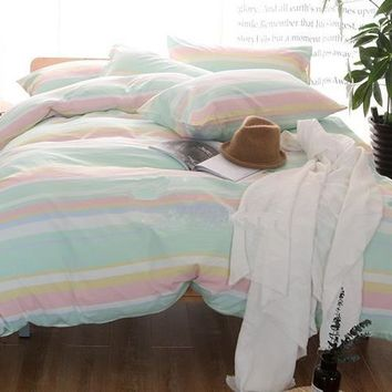 Colorful Stripes Print Modern Simple Style Cotton Luxury 4-Piece Bedding Sets