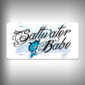Saltwater Babe Custom License Plate / Vanity Plate with Custom Text and Graphics Aluminum
