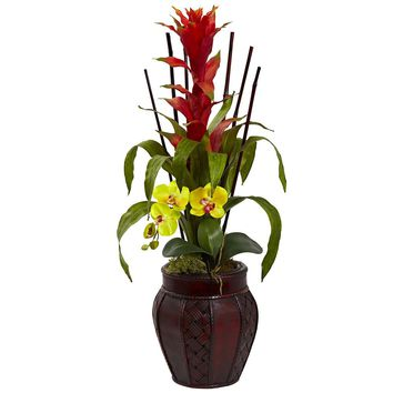 Silk Flowers -Bromedliad And Orchid Combo With Planter Artificial Plant