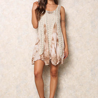 Taupe Crochet Tie Dye Pointed Dress