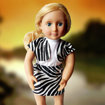 American Girl doll clothes, 2 pc zebra print outfit, AG doll outfit, our generation doll, handmade 18 inch doll clothes