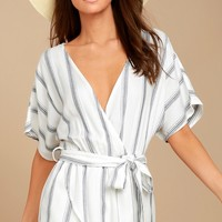 Climb Aboard Grey and White Striped Romper