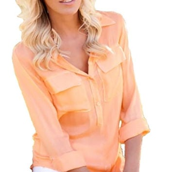 Bella Dahl Pullover Placket Shirt Peach
